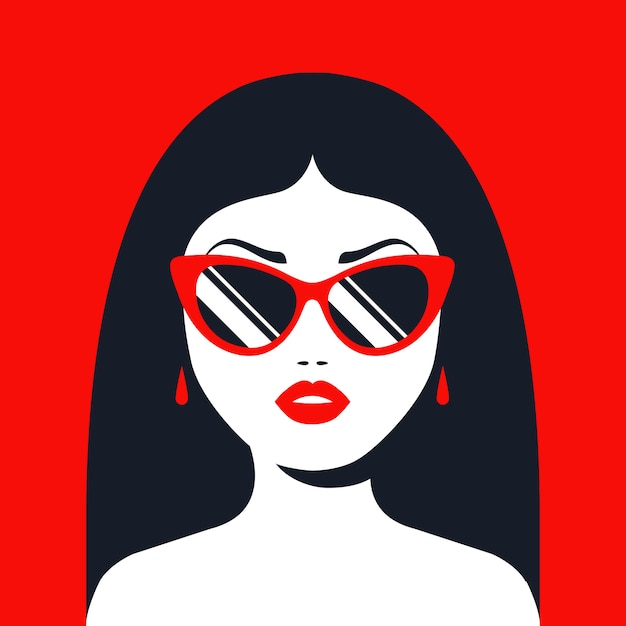 Brunette girl in sunglasses and red lipstick. flat character  illustration. Premium Vector