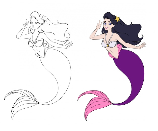 Brunette girl with purple fish tail and sketch Premium Vector