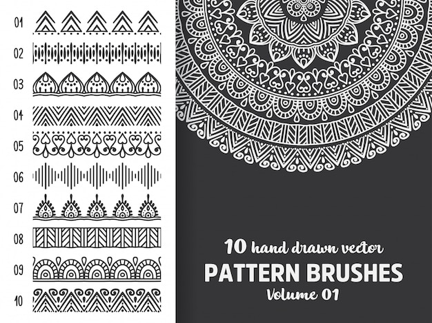 Brush collection with mandala Free Vector