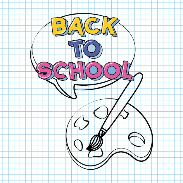 Brush and palette, back to school doodle drawn on a grid sheet Free Vector