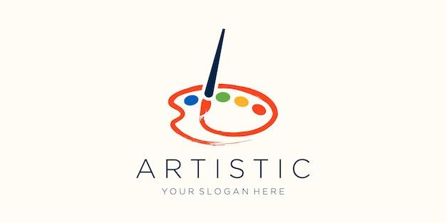 Brush and palette icon watercolor logo design Premium Vector