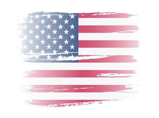 ブラシストロークアメリカ国旗 Premiumベクター