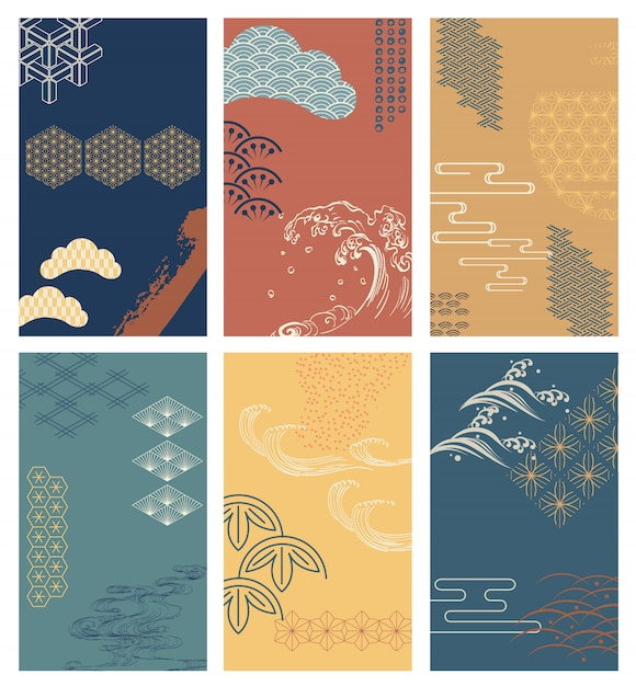 Brush stroke background with japanese pattern  . abstract elements Premium Vector