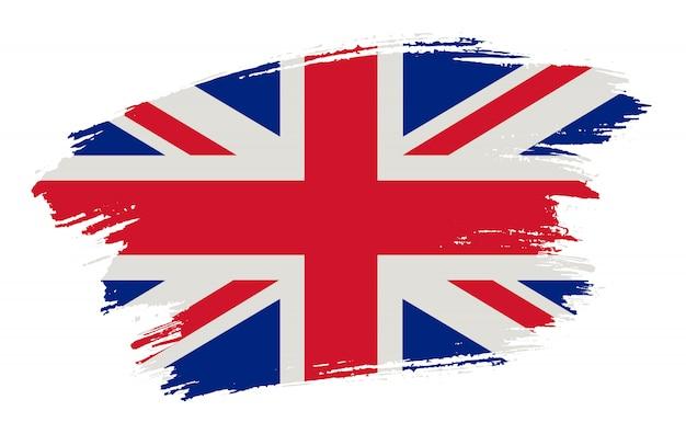 Мазок кистью флаг соединенного королевства Premium векторы