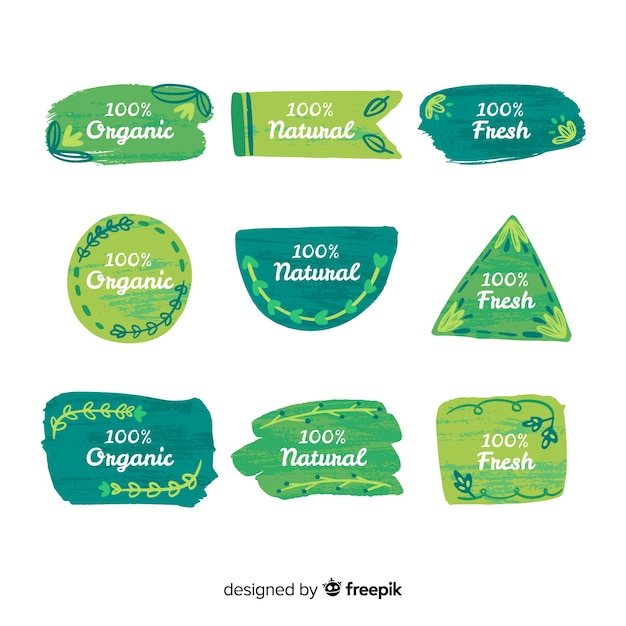 Brush stroke organic food label collection Free Vector