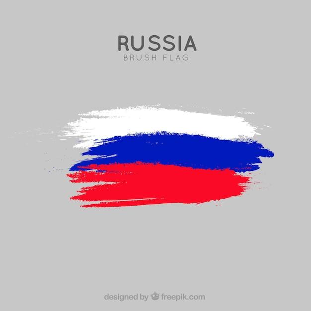 ブラシストロークロシアの旗の背景 Premiumベクター