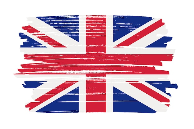 Флаг великобритании мазок кистью Premium векторы