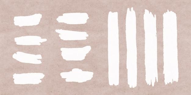 Белая коллекция brush stroke Бесплатные векторы