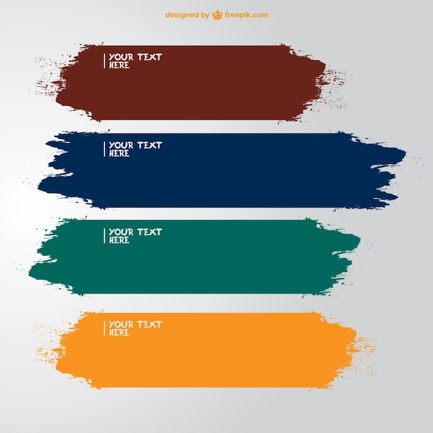 Brush strokes banners in different colors Free Vector