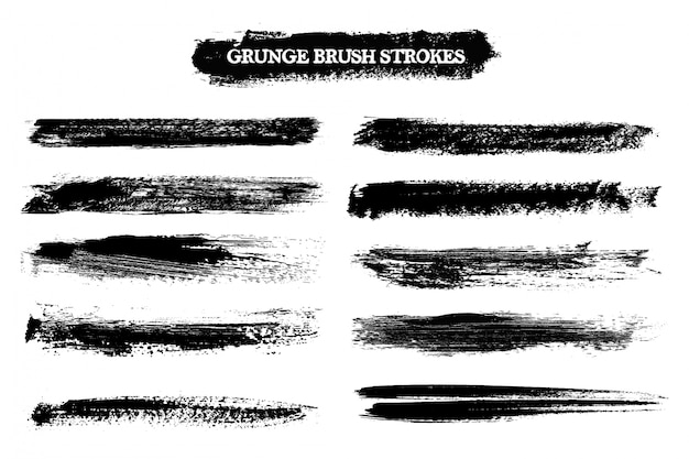Brush strokes collection Free Vector