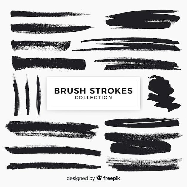 Brush strokes pack Free Vector