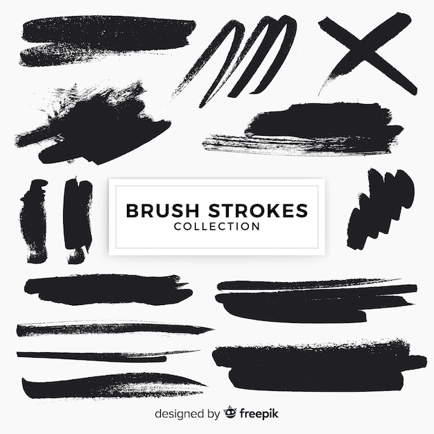 Brush strokes pack Free Vector