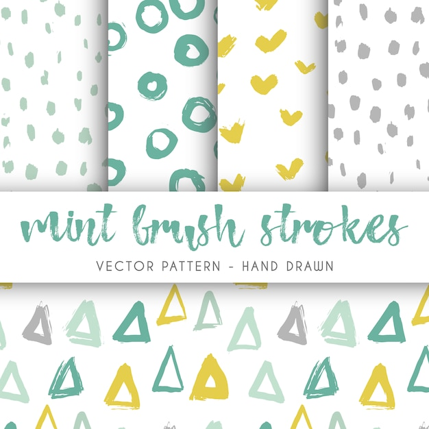 Brush strokes pattern collection Free Vector
