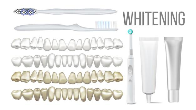 Brush whitening clear teeth equipment set Premium Vector
