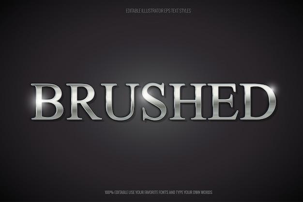 Brushed steel editable text effect Premium Vector