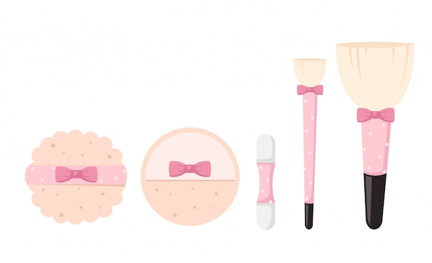 Brushes for makeup isolated illustration Premium Vector