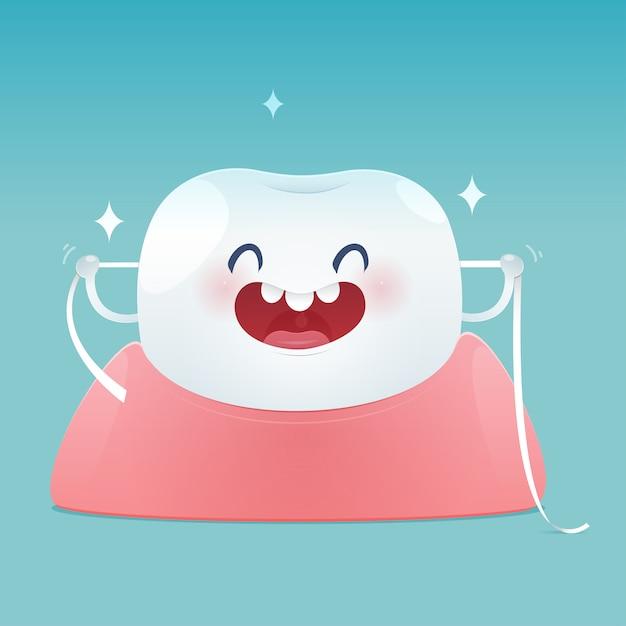 Brushing teeth flossing, dental floss Premium Vector