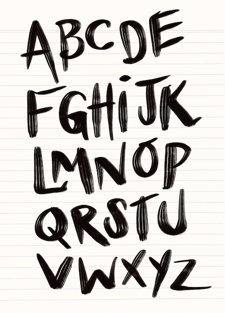 Brushpen comic lettering font. vector alphabet. Premium Vector