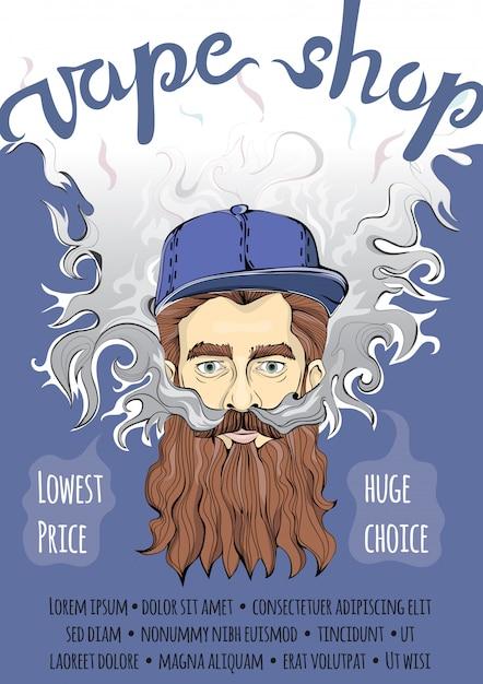 Brutal bearded hipster man making vape cloud. vaping or smoking.  template of advertising poster for vape shop. Premium Vector