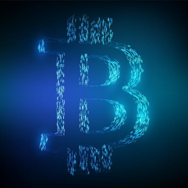 バイナリコードによって形成されたビットコインbtcシンボル。ブロックチェーンの概念。 Premiumベクター
