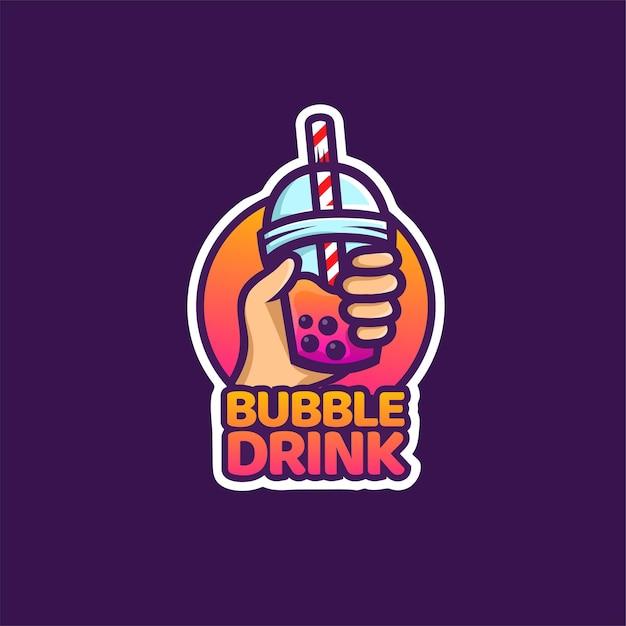 Логотип пузырькового напитка для молочного коктейля, тайского чая, жемчуга, свежего фруктового сока, сладкого напитка Premium векторы