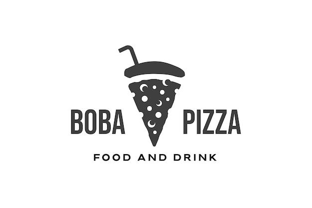 Bubble drink and pizza logo design template Premium Vector