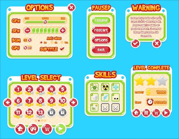 Bubble game gui Premium Vector