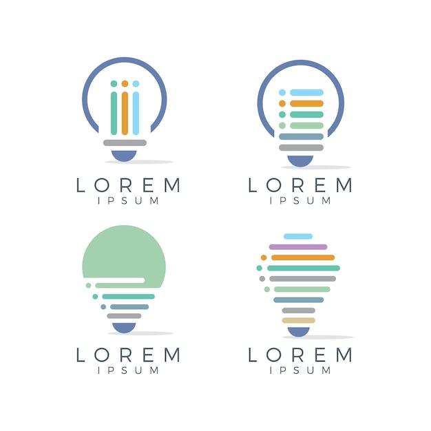 Bubble light logo collection Free Vector