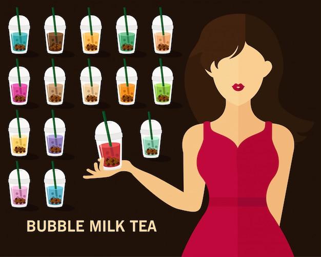 Bubble milk tea concept background Premium Vector