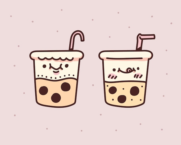 Пузырьковый чай с молоком. пузырьковый чай с молоком. пузырь молочный чай каракули Premium векторы