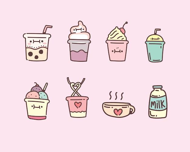 Пузырь чай с молоком векторные иллюстрации. молочный чай ручной стиль каракули набор Premium векторы