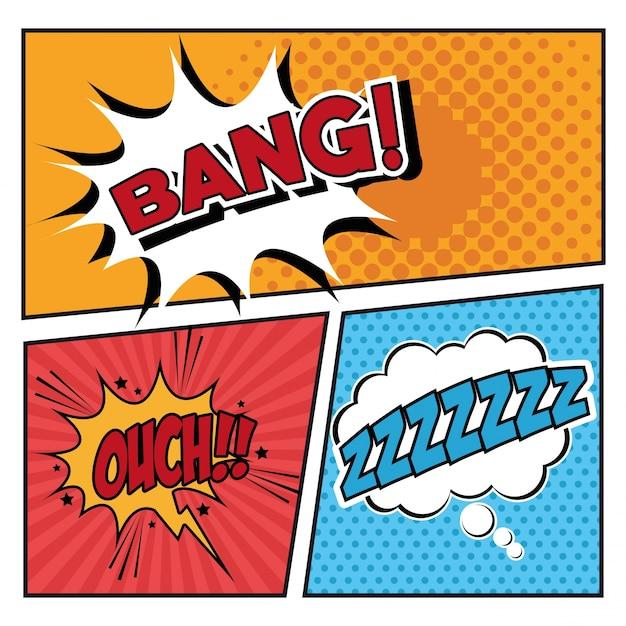 bubble pop art icon set comic communication retro and expression