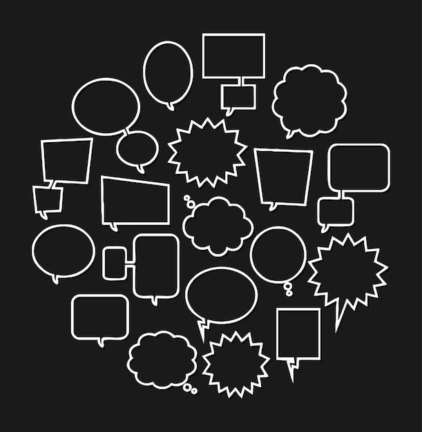 Bubble speech doodle Premium Vector