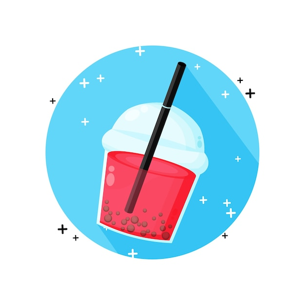 Иконка пузырьковый чай, изолированные на белом Premium векторы