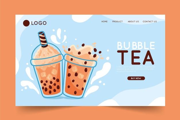 Концепция целевой страницы пузырькового чая Premium векторы