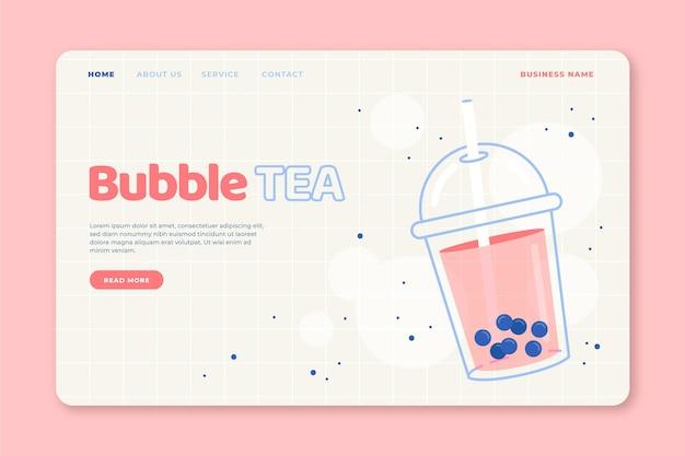 Целевая страница пузырькового чая Бесплатные векторы