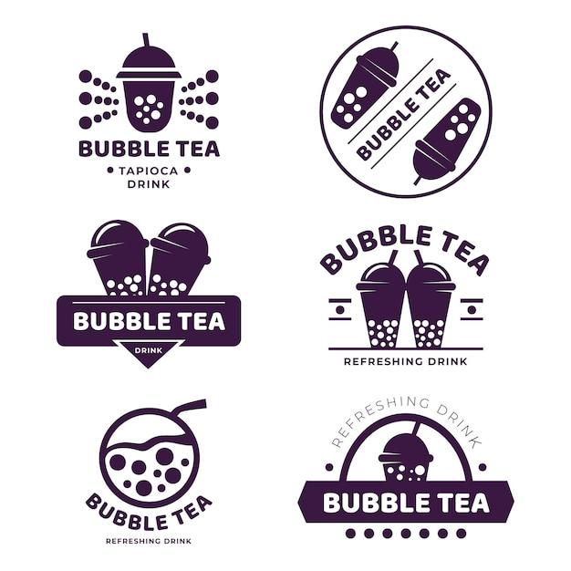 Bubble tea logo collection design Premium Vector