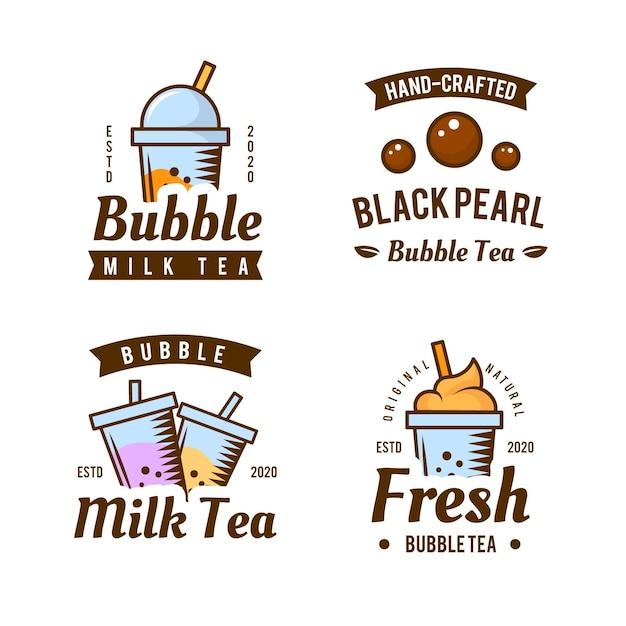Bubble tea logo collection Premium Vector