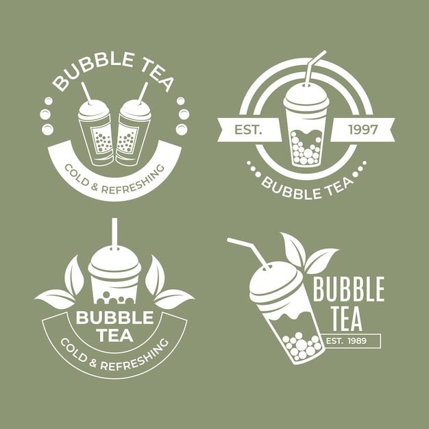 Bubble tea logo collection Premium Vector
