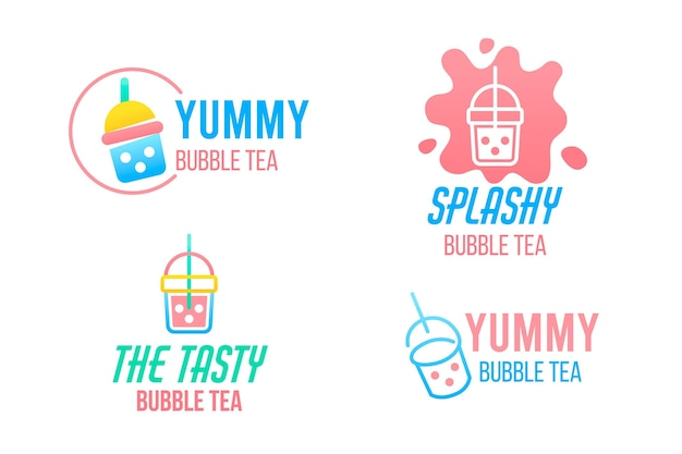 Коллекция логотипов пузырькового чая Бесплатные векторы