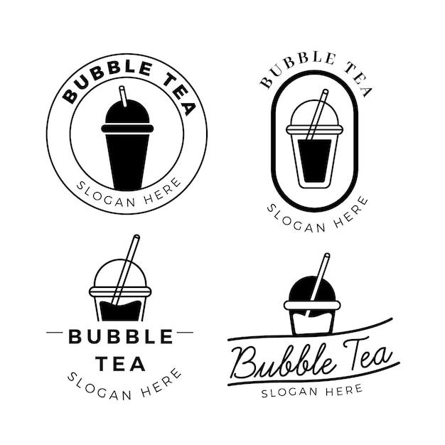 Набор с логотипом bubble tea Бесплатные векторы