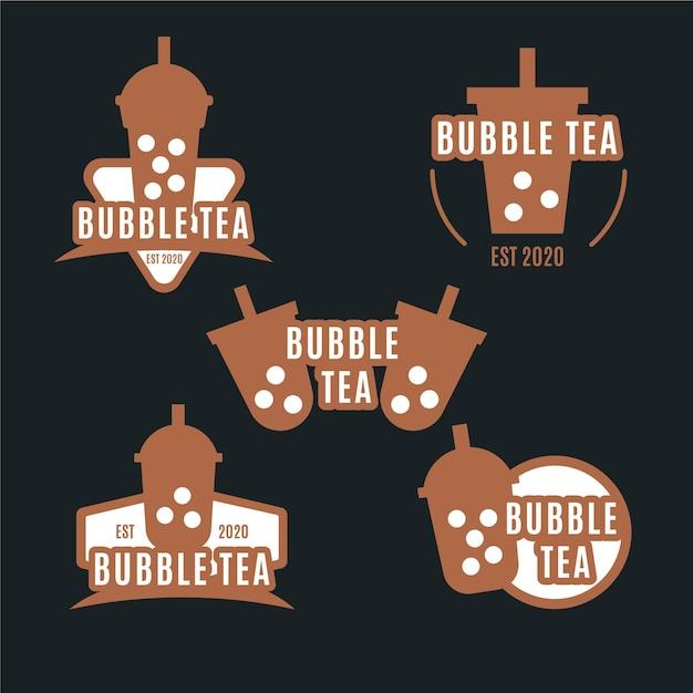 Набор с логотипом bubble tea Premium векторы