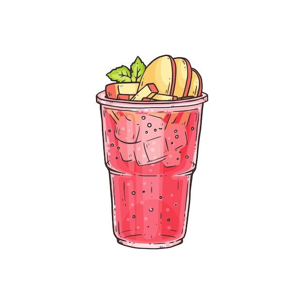 Пузырьковый чай или летний ледяной коктейль с фруктовыми начинками в стакане Premium векторы