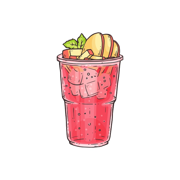 Bubble tea or summer ice cocktail with fruit toppings in glass Premium Vector