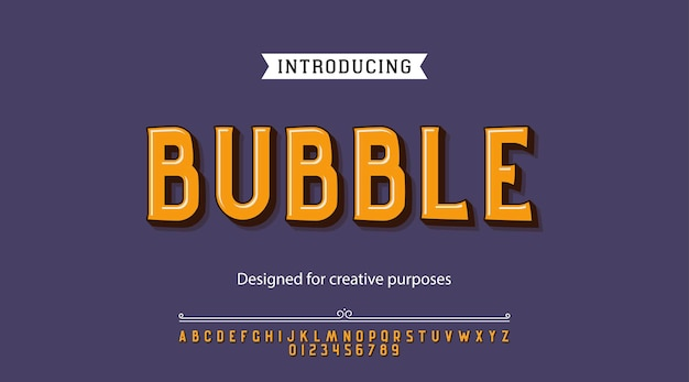 Bubble typeface.for labels and different type designs Premium Vector