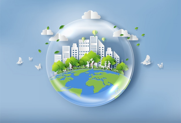 Bubble of water with landscape of the city. Premium Vector
