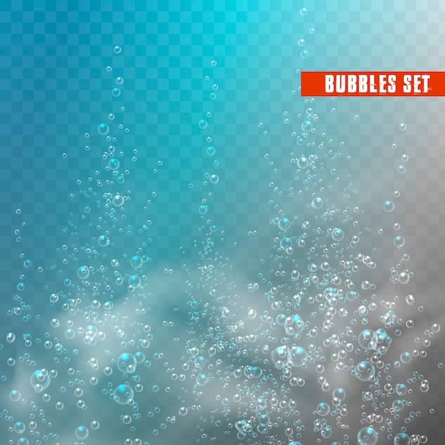 Bubbles under water. Premium Vector