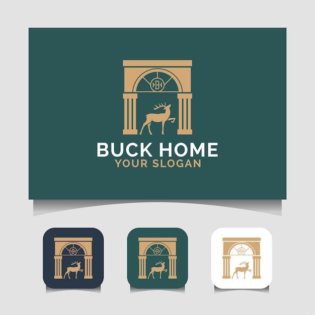Buck home логотип шаблон Premium векторы