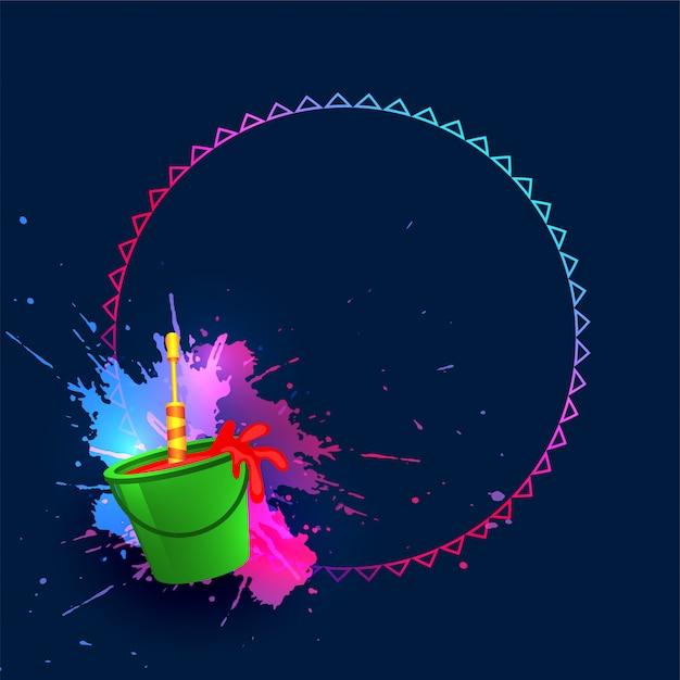 Bucket of colors and pichkari happy holi background Free Vector