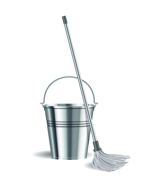 Bucket and mop on white background. Premium Vector